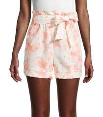 bcbgeneration women's tie-dye paper bag shorts - pink tie dye - size s