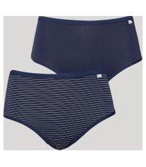 kit de 2 calcinhas cintura alta delcotton caleçon com listras azul marinho