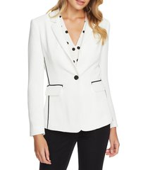 women's 1.state contrast stripe textured crepe blazer, size 2 - white