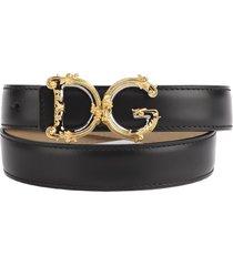 dolce & gabbana black leather baroque logo belt