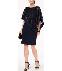r & m richards sequined lace poncho dress