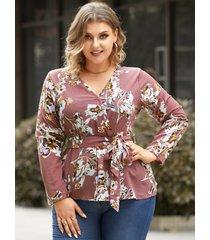 talla grande estampado floral con cuello en v cinturón diseño abrigo diseño blusa de manga larga
