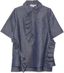 asymmetrical ruffled top in indigo