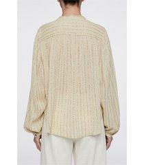 camicetta a righe cotone e lana metallizzata