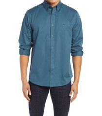 men's nordstrom mens shop smartcare(tm) traditional fit twill boat shirt, size medium - blue/green