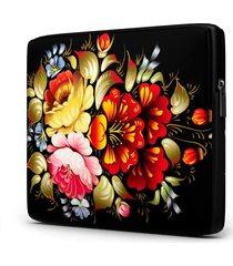 capa para notebook floral 15 polegadas com bolso - preto - feminino - dafiti