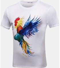 maglietta casuale del cotone del o-collo del gallo del manicotto stampato breve di modo degli uomini 3d