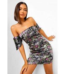 oriëntaalse jacquard mini jurk met open schouders, black