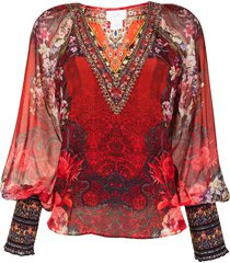 camilla shirred-cuff silk blouse