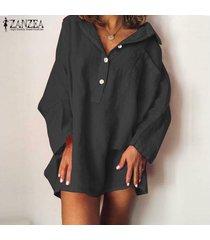 zanzea mujeres más botones casual camisa de manga larga vestido suelto mini vestido -negro