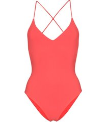 anemone criss-cross strap swimsuit - red