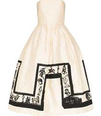 ashley williams strapless printed midi prom dress - white