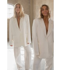 curated styles oversize boxig kavaj - white