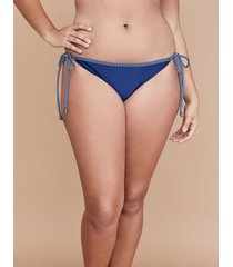 lane bryant women's shimmer string bikini with side ties - nautrical stripe shimmer 20 new navy
