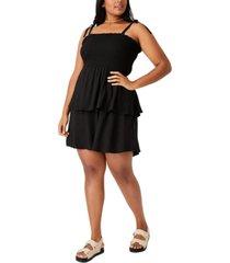 trendy plus woven emma mini tiered dress