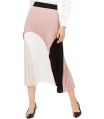 alfani pleated colorblocked skirt, created for macy's