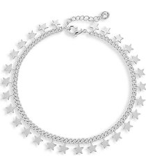 continuous star rhodium-plated silvertone bracelet