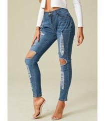 bolsillos laterales detalles rasgados al azar jeans