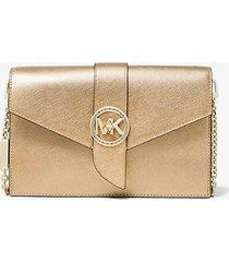 mk borsa a tracolla convertibile media in pelle saffiano metallizzata - oro pallido (oro) - michael kors