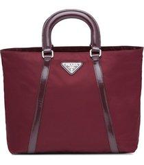 prada two-way zipper tote bag - red