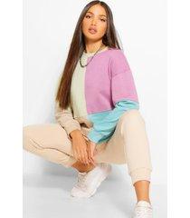 oversized trui met lange mouwen en colourblocking in lange maat, lila