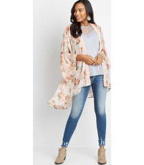 maurices womens white floral open front kimono