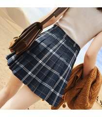 petite size navy plaid skirt women girl pleated plaid skirt school skirt- navy