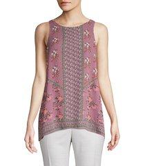 max studio women's mixed-print sleeveless top - ivory - size xs
