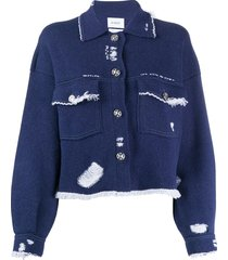 barrie distressed button-up cardigan - blue