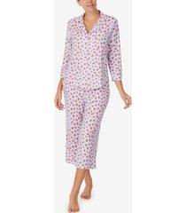kate spade new york women's 3/4 sleeve knit cropped pant notch pajama set
