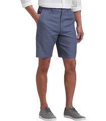 joseph abboud blue men's modern fit linen shorts - size: 36w