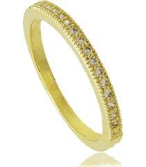 anel aparador com zircônias 3rs semijoias dourado - kanui