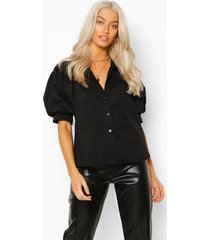 blouse met volle mouwen, black