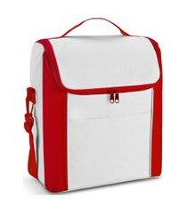 bolsa térmica média spazio topget branco e vermelho