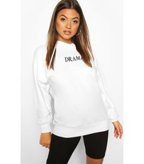 oversized embroidered slogan hoodie, white