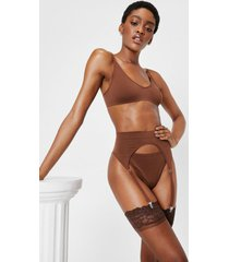 womens seamless 3 pc lingerie and suspender set - chestnut