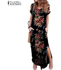 zanzea vestido largo de playa floral de verano para mujer vestidos largos de fiesta de verano vestidos largos -rojo