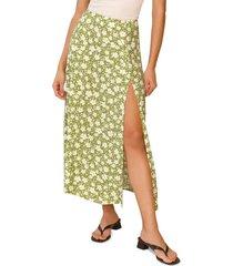 women's reformation zoe side slit midi skirt, size 0 - green