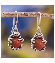 jasper dangle earrings, 'clutching toads' (peru)