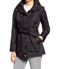 women's via spiga belted water repellent hooded raincoat, size x-large - black