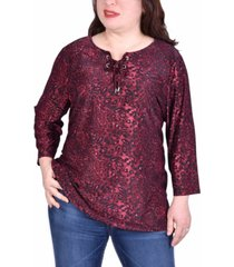 ny collection women's plus size elbow sleeve pullover top with lacing