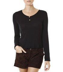 blusa manga longa feminina lunender preto