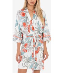 linea donatella tropical-print wrap robe