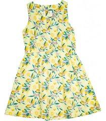vestido estampado frutas amarillo  pillin