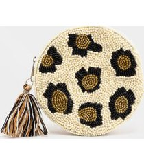 lydia round beaded pouch - leopard