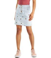 tinseltown juniors' embroidered denim skirt