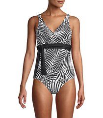 island print 1-piece swimsuit