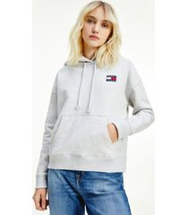 tommy hilfiger women's organic cotton tommy badge hoodie silver grey heather - xl