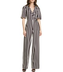 women's alice + olivia luana stripe wrap front jumpsuit