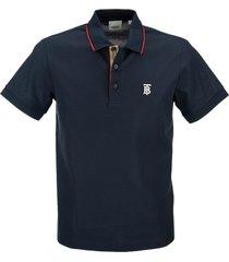 burberry walton - icon stripe placket cotton piqué polo shirt